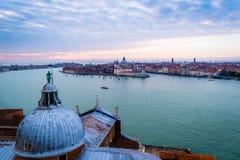 Zonsondergang van Venetië, Italië Stock Foto