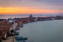 Zonsondergang van Venetië, Italië Stock Foto's