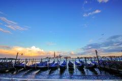 Zonsondergang van Venetië Italië Stock Fotografie