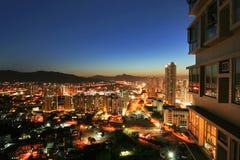 Zonsondergang van Yuen Long, Hongkong stock afbeelding