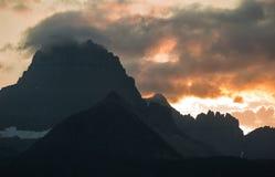 Zonsondergang in Vele Gletsjer Montana Stock Afbeeldingen