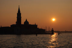 Zonsondergang Venetië stock foto's