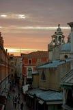 Zonsondergang in Venetië stock foto