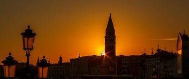 Zonsondergang in Venetië Stock Foto's