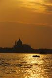 Zonsondergang in Venetië stock fotografie