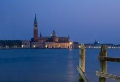 Zonsondergang in Venetië met mening over S.Georgio Stock Foto's