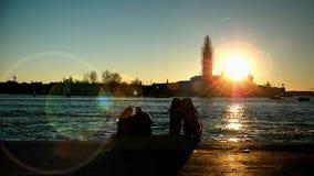 Zonsondergang in Venezia stock fotografie