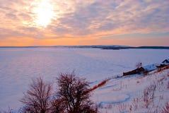 Zonsondergang in Volga Stock Foto