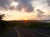Zonsondergang voorbij de horizon Stock Foto