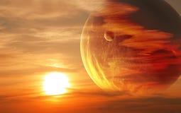 Zonsondergang in vreemde planeet Royalty-vrije Stock Foto