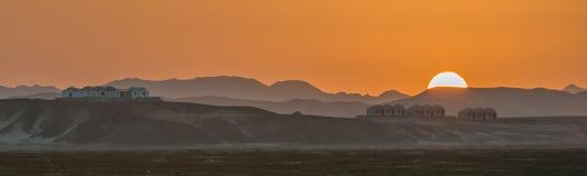 Zonsondergang in Wadi Lahami Stock Afbeeldingen