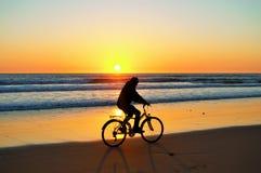 Zonsondergang whith fiets stock fotografie