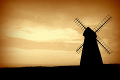 Zonsondergang, Windmolen, Engeland, het Verenigd Koninkrijk Royalty-vrije Stock Foto