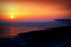 Zonsondergang Witte Klippen Engeland Stock Fotografie