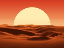 Zonsondergang in woestijn stock illustratie