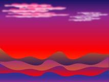 Zonsondergang in woestijn vector illustratie