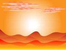 Zonsondergang in woestijn royalty-vrije illustratie