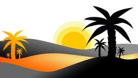 Zonsondergang in Woestijn Stock Afbeelding