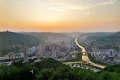 Zonsondergang in Yanan Royalty-vrije Stock Foto's
