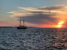 Zonsondergang Zadar stock fotografie
