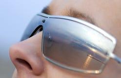 Zonsondergang in zonnebril royalty-vrije stock foto