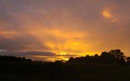 Zonsondergang in zuidelijk Frankrijk Stock Foto's
