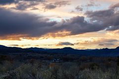 Zonsondergang in Zuidwestencolorado royalty-vrije stock fotografie