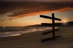 Zonsondergang-zwarte overzees Stock Fotografie