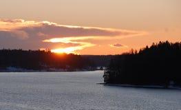 Zonsondergang in Zweden stock foto's