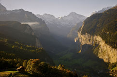 Zonsondergang in Zwitserland Stock Afbeelding