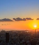 Zonsondergangcityscape bedrijfs luchtmening van de binnenstad Stock Foto