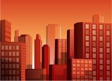 Zonsondergangcityscape vectorillustratieachtergrond Stock Afbeelding