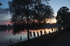 Zonsondergangfotografen Stock Foto