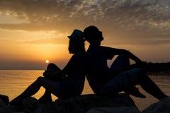 Zonsonderganggenoegen Stock Foto's