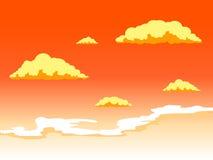 Zonsonderganghemel met wolken vectorillustratie Stock Foto