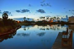 Zonsonderganglagune dichtbij Golf van Mexico Stock Foto's