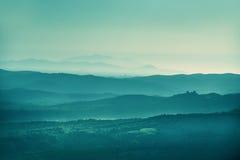 Zonsonderganglandschap Toscanië Stock Fotografie