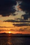 Zonsonderganglandschap van van Jeju Stock Foto