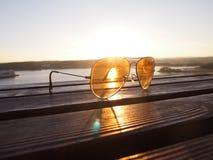 Zonsonderganglicht met glazenlens Royalty-vrije Stock Afbeelding