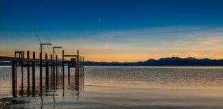Zonsondergangmeer Tahoe stock fotografie