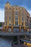 Zonsondergangmening van centrale voetstraat dichtbij Dzhumaya-Moskee en Roman Stadium in stad van Plovd stock afbeelding