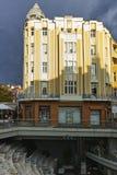 Zonsondergangmening van de straat van Knyaz Alexander I in stad van Plovdiv, Bulgarije royalty-vrije stock foto's