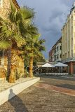 Zonsondergangmening van de straat van Knyaz Alexander I in stad van Plovdiv, Bulgarije stock foto