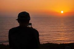 Zonsondergangmening van de Vreedzame oceaan in Lima, Peru Royalty-vrije Stock Afbeeldingen