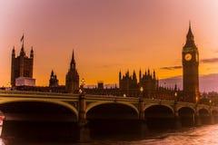 Zonsondergangmening van Engeland het Verenigd Koninkrijk van de Big Ben en van Westminster Stock Foto
