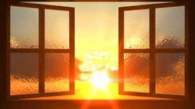 Zonsondergangmening van het geopende venster stock videobeelden