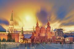 Zonsondergangmening van het Rode Vierkant, Moskou het Kremlin, het mausoleum van Lenin, historican Museum in Rusland De wereldber royalty-vrije stock foto