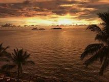Zonsondergangmening van overzees met kleine eilanden en palm in Sabah Stock Fotografie