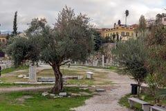 Zonsondergangmening van Roman Agora in Athene, Griekenland Stock Foto's