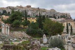 Zonsondergangmening van Roman Agora in Athene, Griekenland Royalty-vrije Stock Foto's